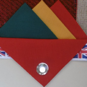 Green Yellow and Red Hankie With Red Flap and Pin